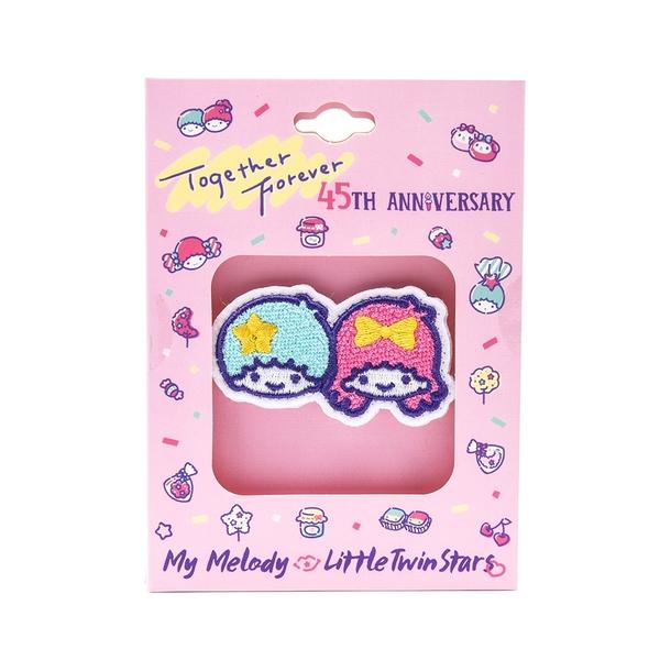 Sanrio 美樂蒂&KIKI LALA 45週年系列 刺繡別針 雙子星 白_RD00739