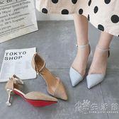 尖頭高跟鞋細跟時尚涼鞋女夏季新款性感一字扣帶百搭中空單鞋  小時光生活館