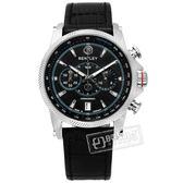 BENTLEY 賓利 / BL1694-20WBB-N / 德國製造 藍寶石水晶玻璃 日期 計時碼表 壓紋真皮手錶 黑色 42mm
