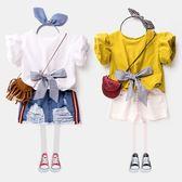 女童襯衫 短袖夏季兒童夏裝白色上衣娃娃衫 寶寶泡泡袖襯衣女韓版   初見居家