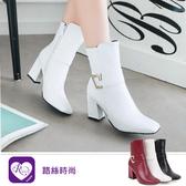 秋冬單品時尚配件素面方頭高跟短靴/3色/35-43碼 (RX1295-68-1) iRurus 路絲時尚