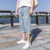 優惠兩天-七分褲淺色牛仔褲寬鬆直筒男七分褲韓版潮男百搭潮流夏季短褲7分28-36藍色