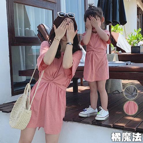 交叉綁帶連衣裙 短版洋裝 親子裝 連身裙 橘魔法 Baby magic 現貨 女童