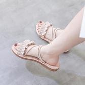 2019夏季新款溫柔鞋仙女平底膠涼鞋女學生百搭網紅羅馬女鞋ins潮