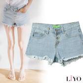 LIYO理優抽鬚造型排釦牛仔短褲L721001