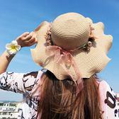 遮陽帽沙灘帽女夏季海邊防曬大檐太陽帽子韓版百搭女童草帽母女親子帽潮【非凡】