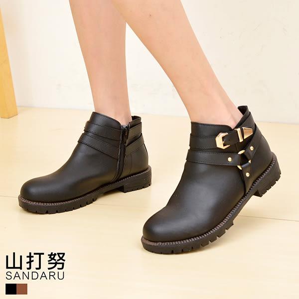 短靴 側釘珠皮帶拉鍊低跟短靴- 山打努SANDARU【1076790、1066790、3296790#46】