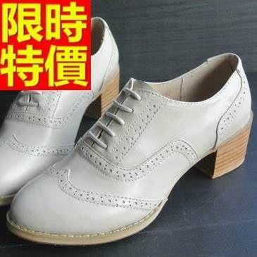 女牛津鞋-中跟哈雷風時髦粗跟真皮女皮鞋2色65y16【巴黎精品】