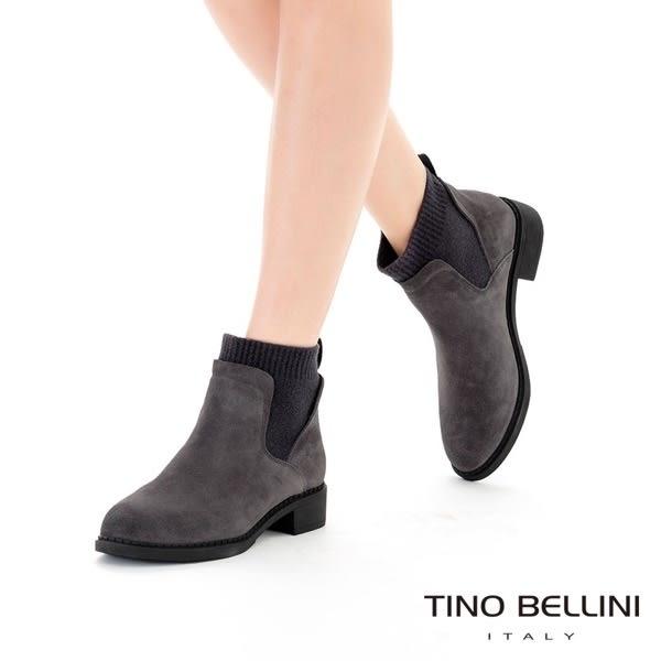 Tino Bellini 低調個性毛呢拼接低跟短靴 _ 黑 FS8512