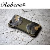 【日本ROBERU】iPhoneSE/5/5c/5s手機套 皮套 迷彩綠 義大利植鞣