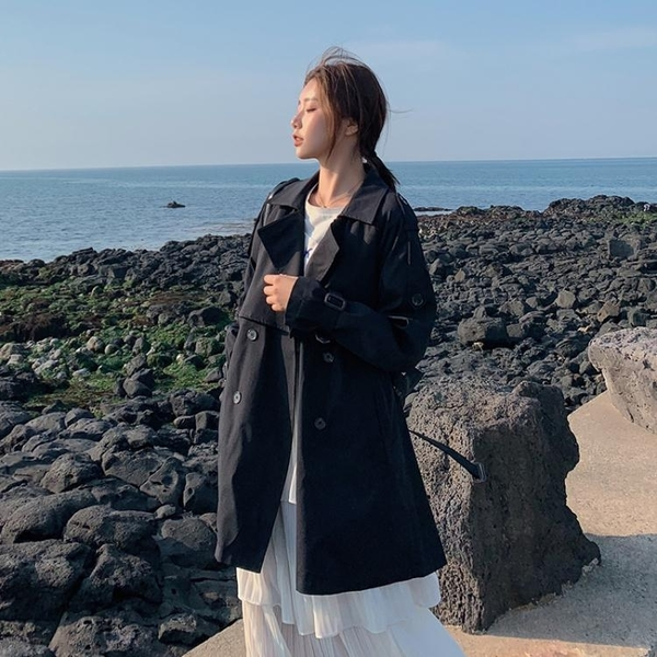 風衣女秋季新款小個子韓版寬鬆學生短卡其色中長款外套女春秋 新年禮物
