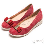 DIANA 超軟Q--甜漾繽紛質感點點蝴蝶結輕量楔型鞋-紅★特價商品恕不能換貨★