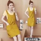 夏季新款學生套裝裙韓版時尚連身裙少女短袖背帶裙兩件套 交換禮物