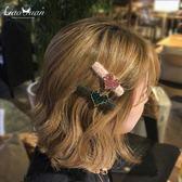 新款淑女夾子頭飾髮夾女成人韓國鴨嘴夾水鑽頂夾一字夾瀏海夾髮卡