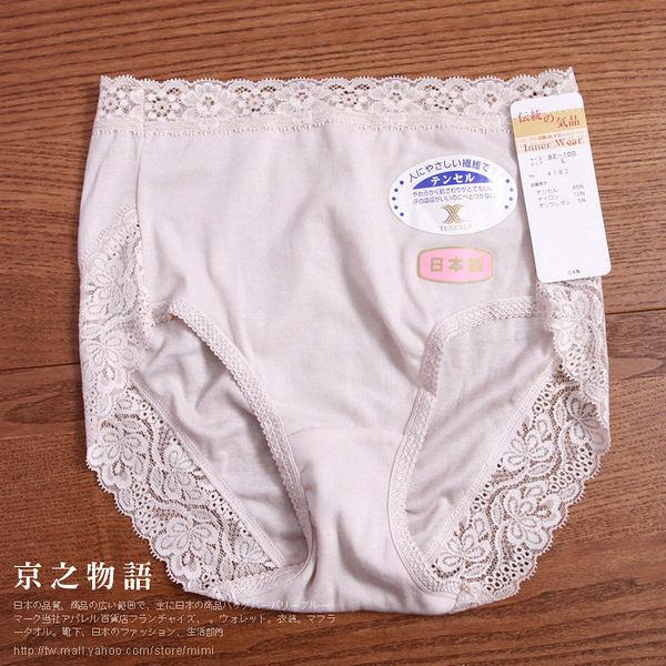 【京之物語】日本製蕾絲女性三角內褲-米色 M/L/LL