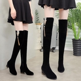 膝上靴 2019秋冬新款韓版高跟過膝靴女顯瘦長筒彈力長靴加絨粗跟高筒女靴 2色35-39