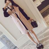 西裝馬甲 秋季女裝韓版西裝馬甲外套中長款洋裝小黑裙兩件套顯瘦套裝 果果輕時尚
