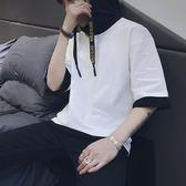2018夏季男士短袖T恤五分袖衛衣連帽衫韓版