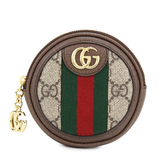 GUCCI Ophidia GG 綠紅織帶復古拉鍊零錢包/鑰匙包(烏木色)
