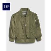 Gap男嬰幼童 舒適長袖拉鏈短款夾克 488967-軍綠色