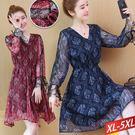 花紋印花銀紗點印洋裝(2色)XL~5XL...