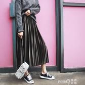 YSS金絲絨半身裙百褶裙2020秋冬新款韓版高腰中長款A字裙子女長裙  (pink Q時尚女裝)