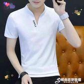 夏裝新款短袖紅色男t恤青少年韓版新品純色V領上衣無領薄POLO衫潮 時尚芭莎