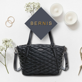 《高仕皮包》【免運費】BERNIS兩用托特包-小羊皮菱格紋系列BNA18045BK