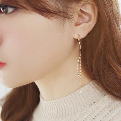【NiNi Me】夾式耳環 氣質甜美曲線流蘇鋯石水鑽夾式耳環 夾式耳環 E0115