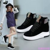 新款冬季女鞋內增高運動棉鞋女韓版百搭學生加絨女高筒休閒鞋厚底