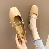 豆豆鞋 夏季復古奶奶鞋韓版新款仙女百搭簡約軟底豆豆鞋平底珍珠水鑽單鞋 雅楓居
