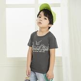 可愛恐龍家族塗鴉滿版英字母短T 灰 涼爽 竹節棉 手繪 男童 春夏 短袖 上衣 T恤