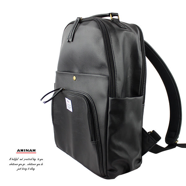 黑色多層次後背包 (設筆電層) AMINAH~【am-0298】