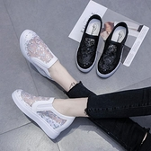 夏季內增高小白鞋女韓版休閒鏤空透氣樂福鞋網紗網面坡跟單鞋小碼 夏季新品
