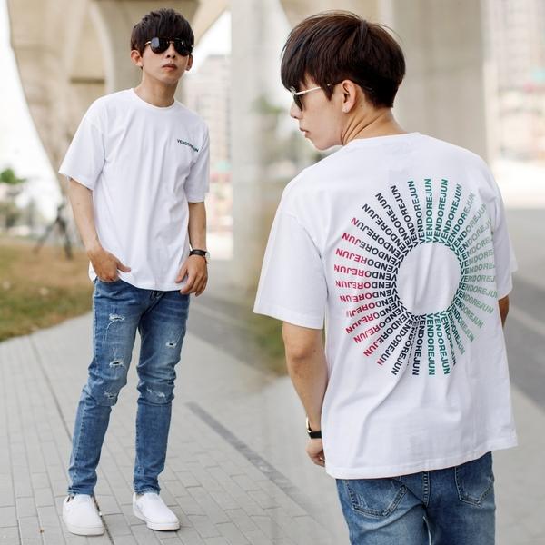 T恤 彩色放射狀漸層色環文字短T【NB1011J】