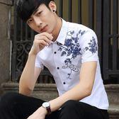 短袖襯衫男正韓修身薄款免燙休閒青年百搭學生帥氣印花白襯衣