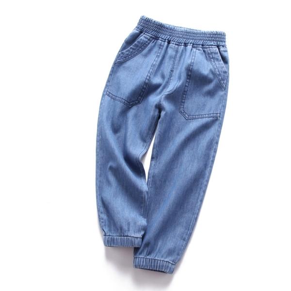 新款 薄款水洗口袋繫帶鬆緊褲頭牛仔褲 長褲 防蚊褲 橘魔法 現貨 童裝 男女童 兒童 薄長褲 燈籠褲