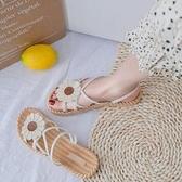 夏季新款女士百搭潮平底羅馬女鞋時尚仙女風涼鞋女