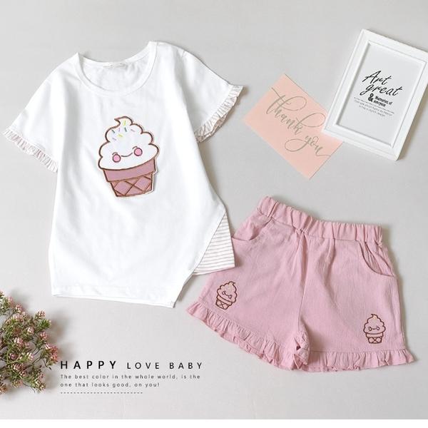 純棉 甜美少女冰淇淋套裝 春夏童裝 女童棉T 女童上衣 女童短裙 女童褲裙 女童套裝
