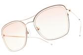 CARIN太陽眼鏡 SUNUP C1 (透明玫瑰金-漸層粉綠鏡片) 韓星秀智代言 簍空雙槓款 墨鏡 # 金橘眼鏡
