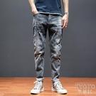 哈倫牛仔褲男夏季潮流寬鬆破洞鬆緊腰復古工裝彈力個性小腳長褲子 快速出貨