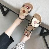 韓版涼鞋女夏平底兩穿羅馬沙灘鞋子