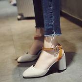 【優選】女士涼鞋正韓時尚包頭粗跟高跟鞋羅馬鞋子