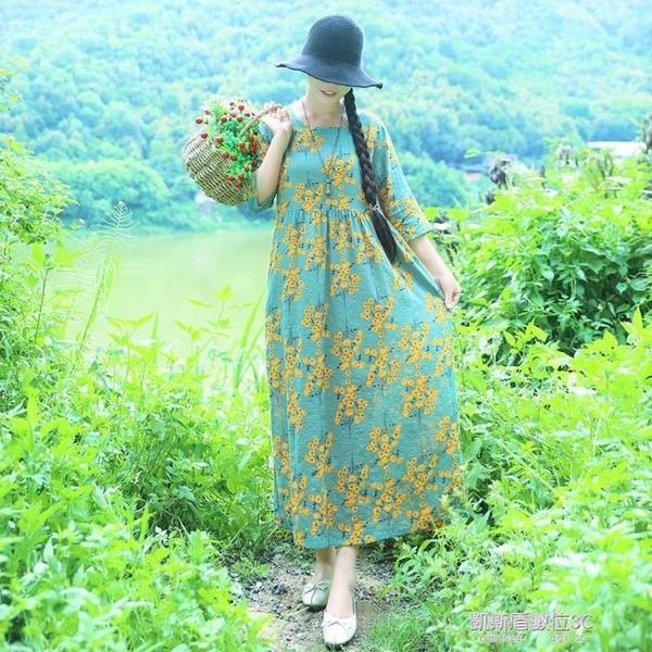 夏秋新款民族風女裝棉麻印花圓領五分袖連身裙高腰寬鬆顯瘦長裙子 凱斯盾