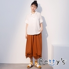 betty's貝蒂思 寬版鬆緊棉麻燈籠褲(駝色)