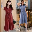 VK精品服飾 韓國風雪紡魚尾長裙顯瘦復古襯衫裙短袖洋裝