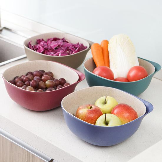 環保小麥雙層瀝水籃 方形 手把 洗菜 清洗 置物 收納 水果 蔬菜 瀝乾 過濾 【H031】MY COLOR