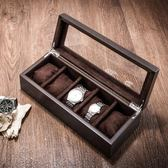 手錶盒-夭桃(飾品)木質天窗手錶盒五格木制機械錶展示盒首飾手鍊收納盒 東京衣秀