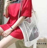 網格手提包購物袋網眼鏤空沙灘包帆布包側背包【時尚大衣櫥】