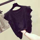 新年鉅惠雪紡衫短袖女裝夏裝2018新款蕾絲遮肚子無袖上衣超仙洋氣甜美小衫 小巨蛋之家